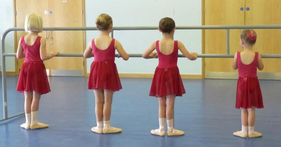 Ballet dance training for junior dancers at the bar